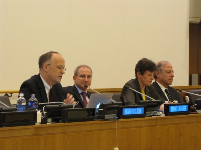 The Swiss Federal Department of Foreign Affairs sponsored the panel event which featured Ward Wilson, Barry Blechman, and the UN's High Representative for Disarmament Affairs, Angela Kane.