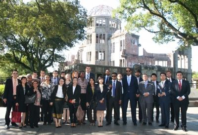 2013 UN Disarmament Fellows at the Hyper Centre of Atomic bombing in Hiroshima City, Japan