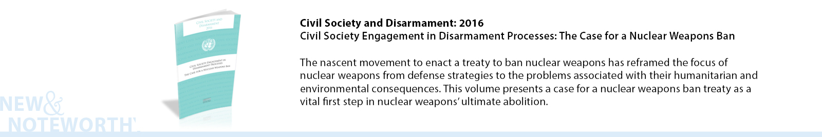 "This publication examines historic, strategic, humanitarian and economic aspects of general and complete disarmament to elaborate and elevate the case for prohibiting conventional weapons systems as well as nuclear weapons. The articles were originally presented at the seminar in New York on 21 October 2015 entitled ""Comprehensive Approaches for Disarmament in the Twenty-first Century: Rethinking General and Complete Disarmament""."