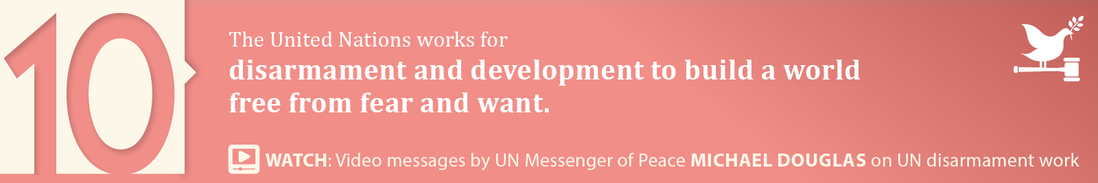10.	Disarmament and development to build a world free from fear and want.