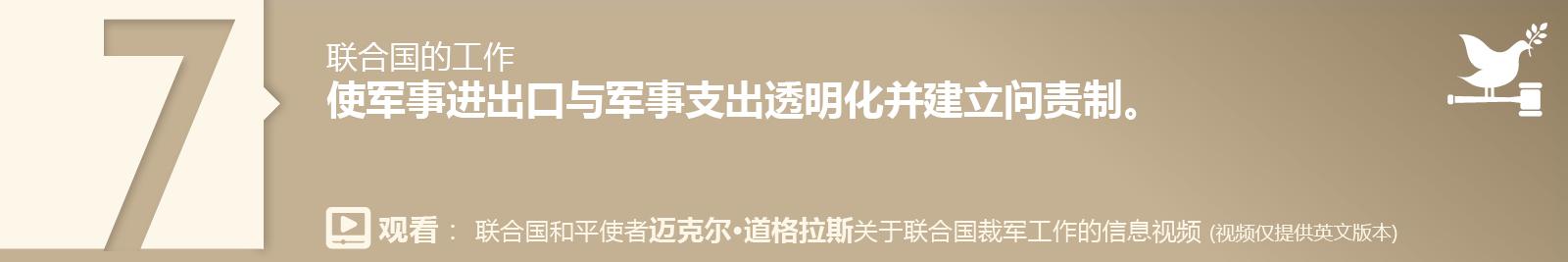 7. 使军事进出口与军事支出透明化并建立问责制。