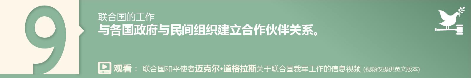 9. 与各国政府与民间组织建立合作伙伴关系。