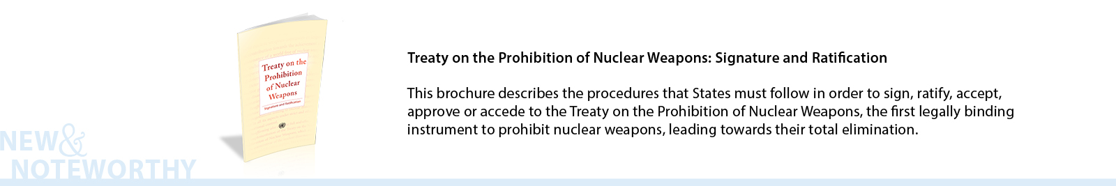 The Treaty on the Prohibition of Nuclear Weapons is the first legally binding instrument to prohibit nuclear weapons, leading towards their total elimination. For those nations that are party to it, the treaty prohibits the development, testing, production, stockpiling, stationing, transfer, use and threat of use of nuclear weapons, as well as assistance and encouragement to the prohibited activities. This brochure describes the procedures that States must follow in order to sign, ratify, accept, approve or accede to this treaty.