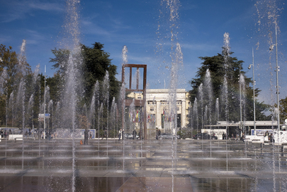 Entrance to the Palais des Nations in Geneva Viewed through Fountains of Place des Nations