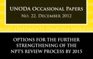 "UNODA Publishes Paper on ""Options for the Further Strengthening of the NPT's Review Process by 2015"""