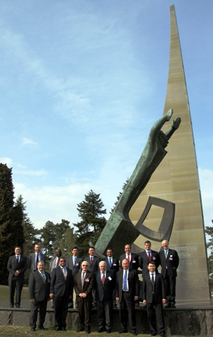 The Group of Governmental Experts at the Monument to the Explorers of Space on the grounds of the UN Office at Geneva