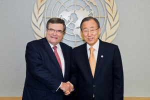 Secretary-General Ban Ki-moon meets with Jaakko Laajava